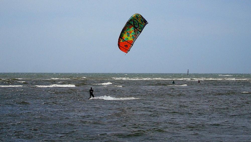 kiteboarding at sea